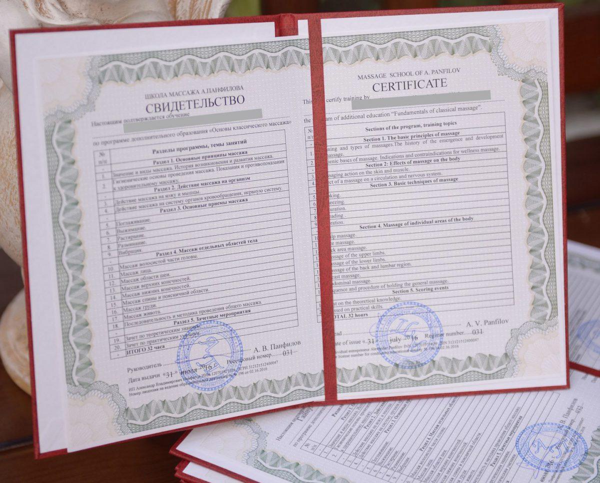 Документ установленного образца выдаваемый студентам окончившим курсы массажа школы Панфилова еще